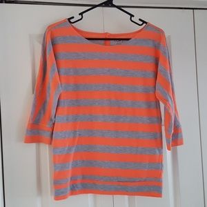 LOFT Striped Button Back Top XS - 3/4 Sleeves